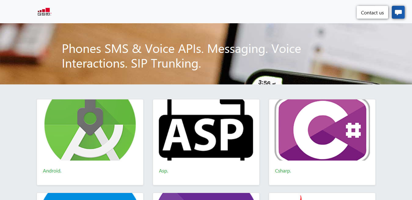 Phones SMS & Voice APIs. Messaging. Voice Interactions. SIP Trunking.